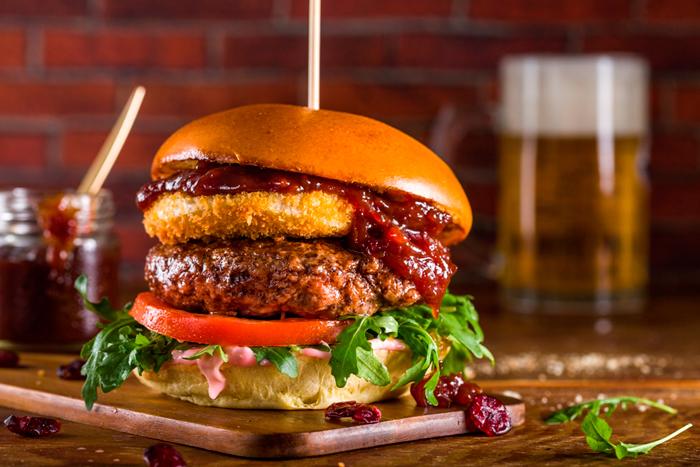 Camembert and Cranberry BBQ burger